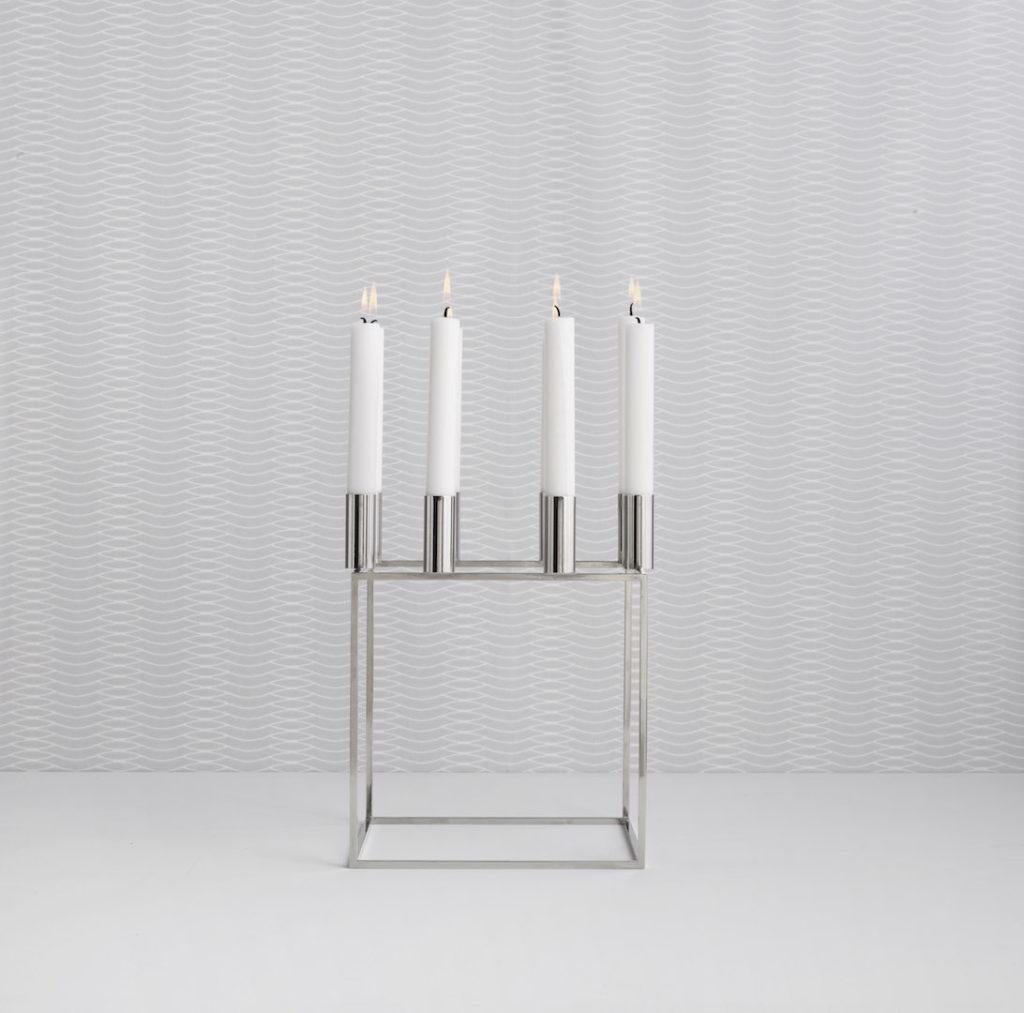 Kubus candlestick in nickel
