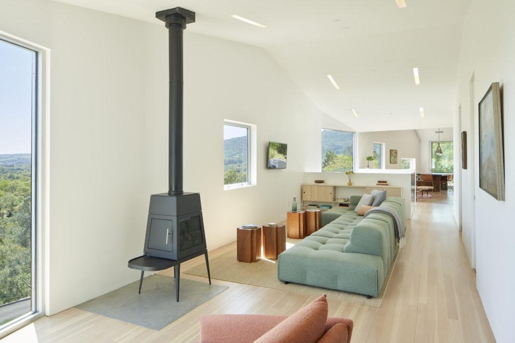 Triple Barn House furnishings in light colour